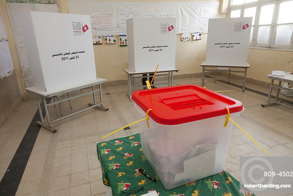 Polling box and booths for the election of the Constituent Assembly, Tunis, Tunisia, North Africa, Africa