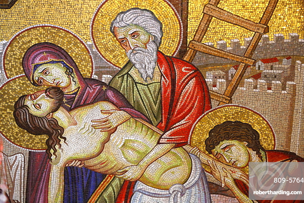 Detail of mosaic of the Burial of Jesus Christ showing Jesus taken down from the cross, Holy Sepulchre Church, Jerusalem, Israel, Middle East