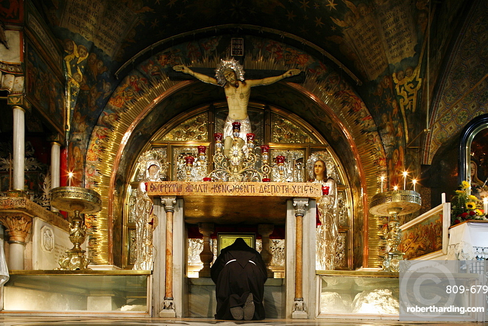 Golgotha chapel at the Church of the Holy Sepulchre, Jerusalem, Israel, Middle East