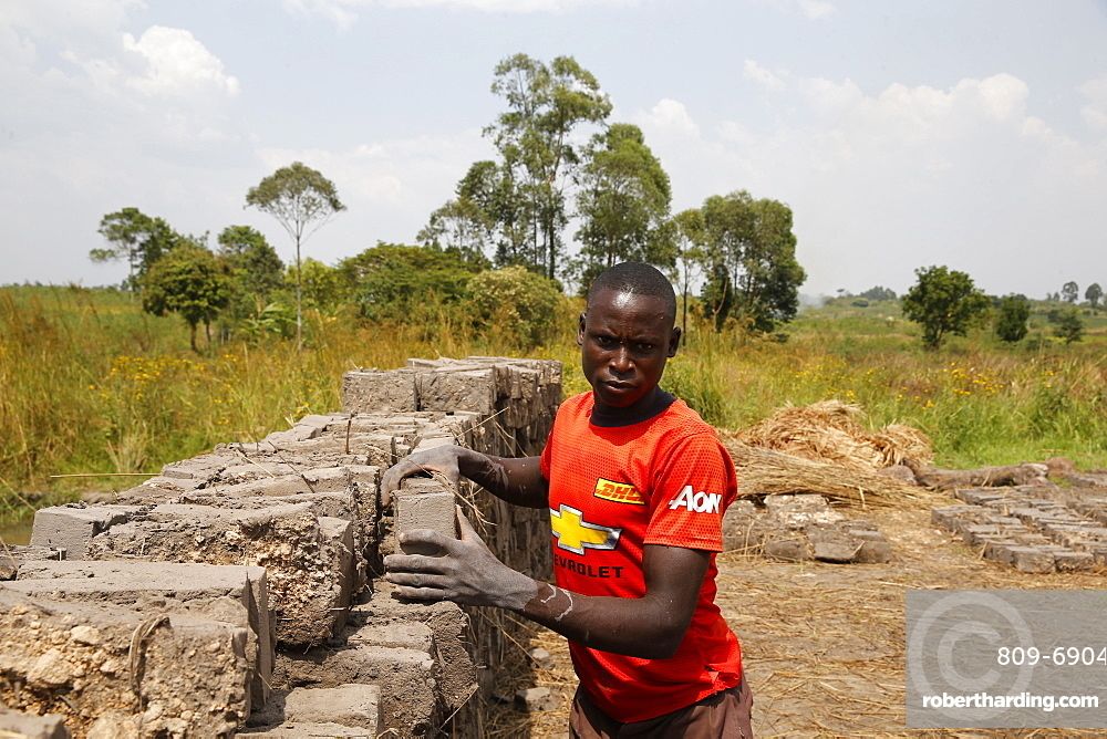 Brick factory financed by a loan from ENCOT microfinance, Uganda, Africa