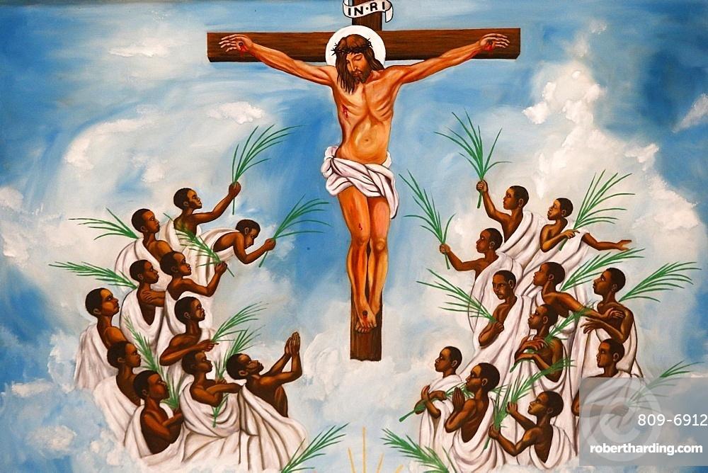 Church fresco, Namugongo Catholic Martyrs' Shrine,  Kampala, Uganda, Africa