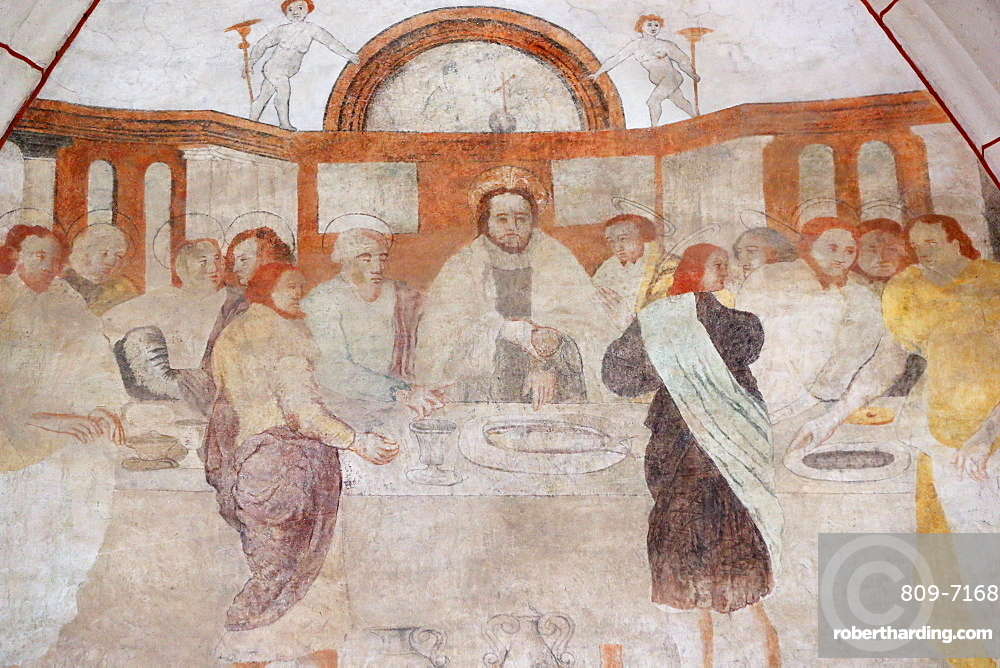 Vault de Lugny church. 16th century wall painting. Christ in his passion. the Last Supper shared by Jesus and his disciples.