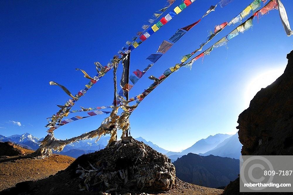 Prayer flags, Mustang, Nepal, Himalayas, Asia