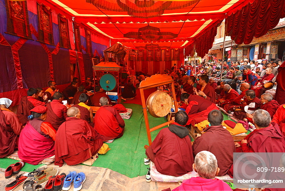 Tibetan monks performing rituals, Nepal, Asia