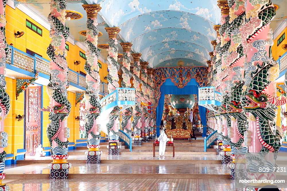 Interior of Cao Dai Great Temple with ornate dragon columns, Tay Ninh, Vietnam, Indochina, Southeast Asia, Asia