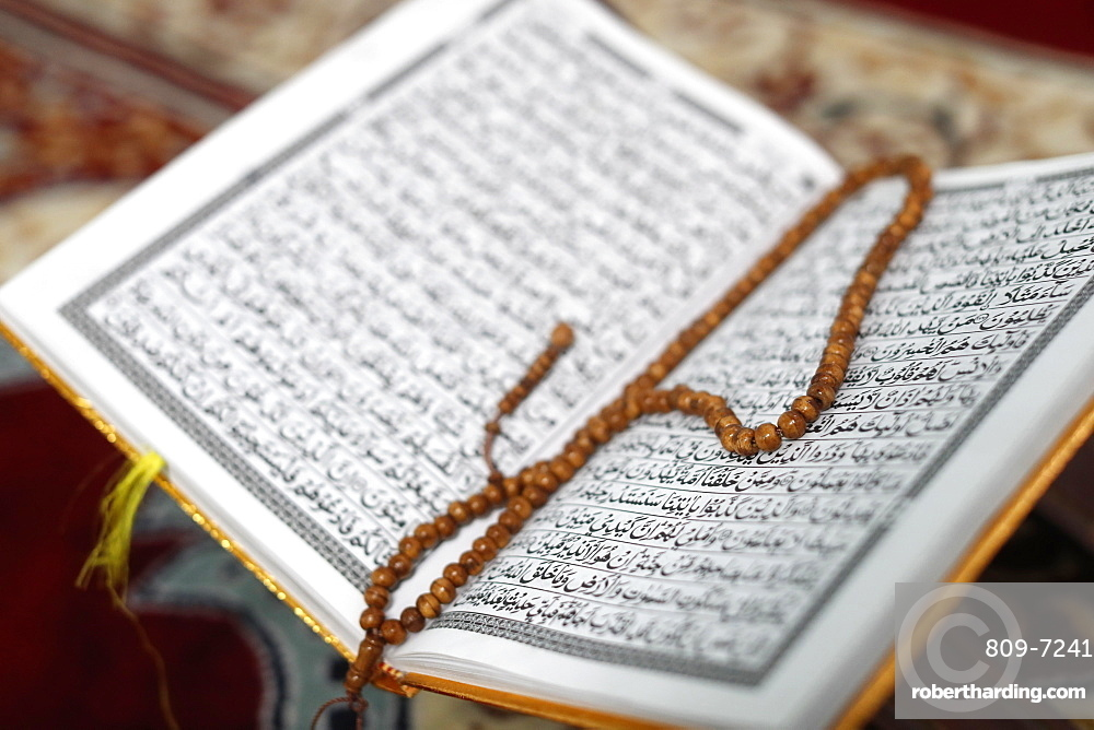 Arabic Holy Quran (Koran) with prayer beads (tasbih), Jamiul Islamiyah Mosque, Ho Chi Minh City, Vietnam, Indochina, Southeast Asia, Asia