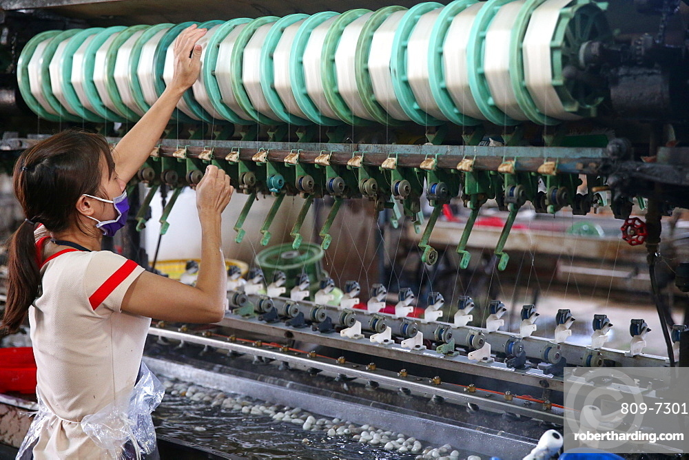 Woman working on silk spinning machine in traditional silk factory, Dalat, Vietnam, Indochina, Southeast Asia, Asia