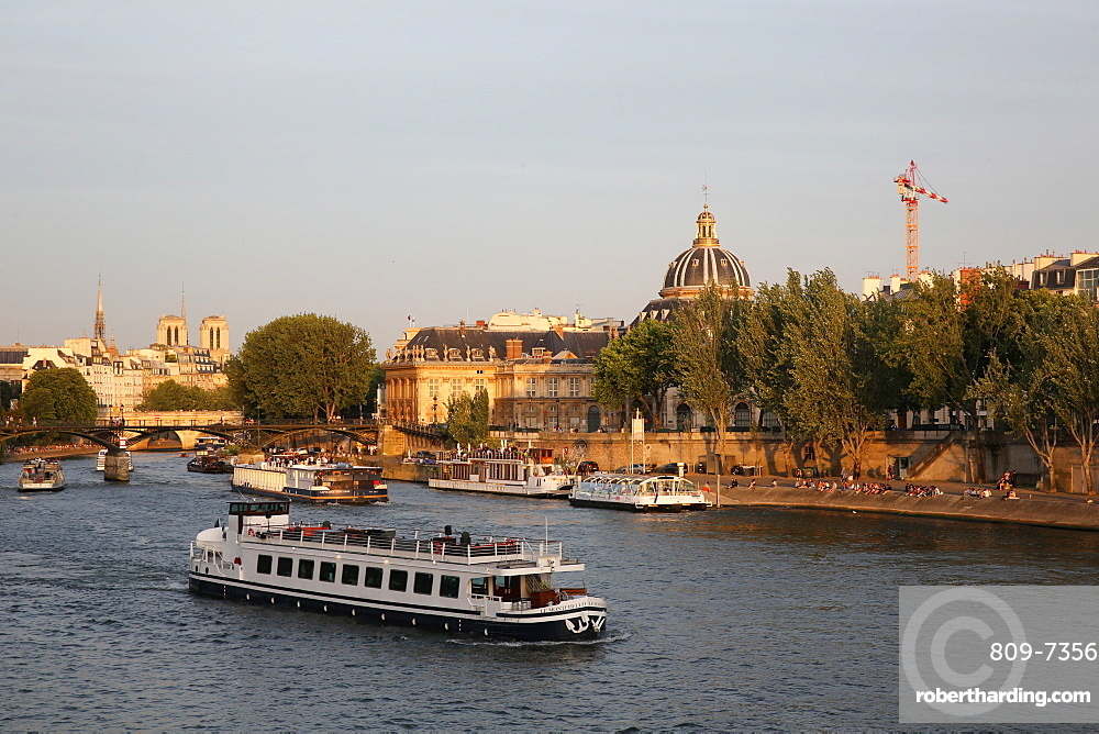 Tourist boat on the River Seine in Paris, France, Europe