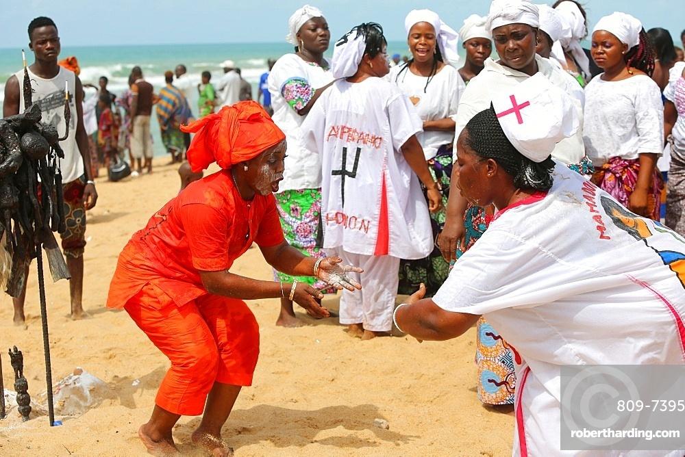 Voodoo cult on a beach in Cotonou, Benin, West Africa, Africa