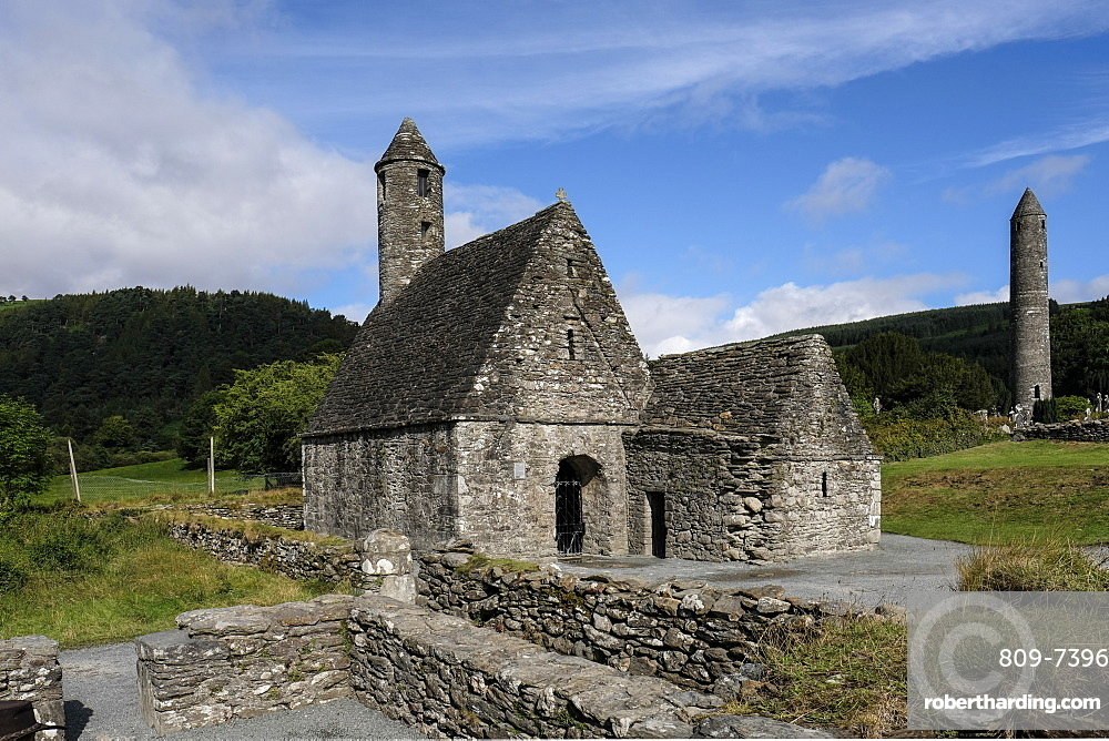 St. Kevin's Church (St. Kevin's Kitchen), a nave-and-chancel church of the 12th century, Glendalough, County Wicklow, Leinster, Republic of Ireland, Europe