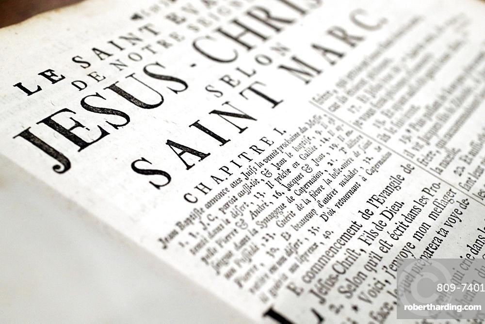 The Gospel of St. Mark, old Holy Bible, Strasbourg, France, Europe