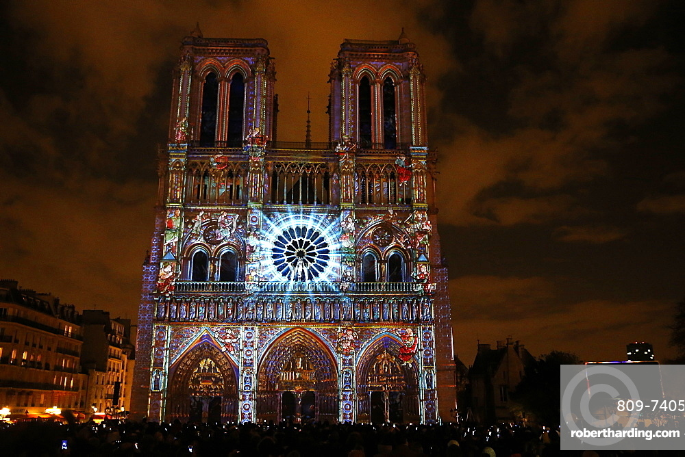 Sound and Light show at Notre Dame de Paris Cathedral, UNESCO World Heritage Site, Paris, France, Europe