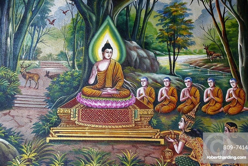 Fresco depicting the Buddha with followers in Wat Chiang Mun, Chiang Mai, Thailand, Southeast Asia, Asia