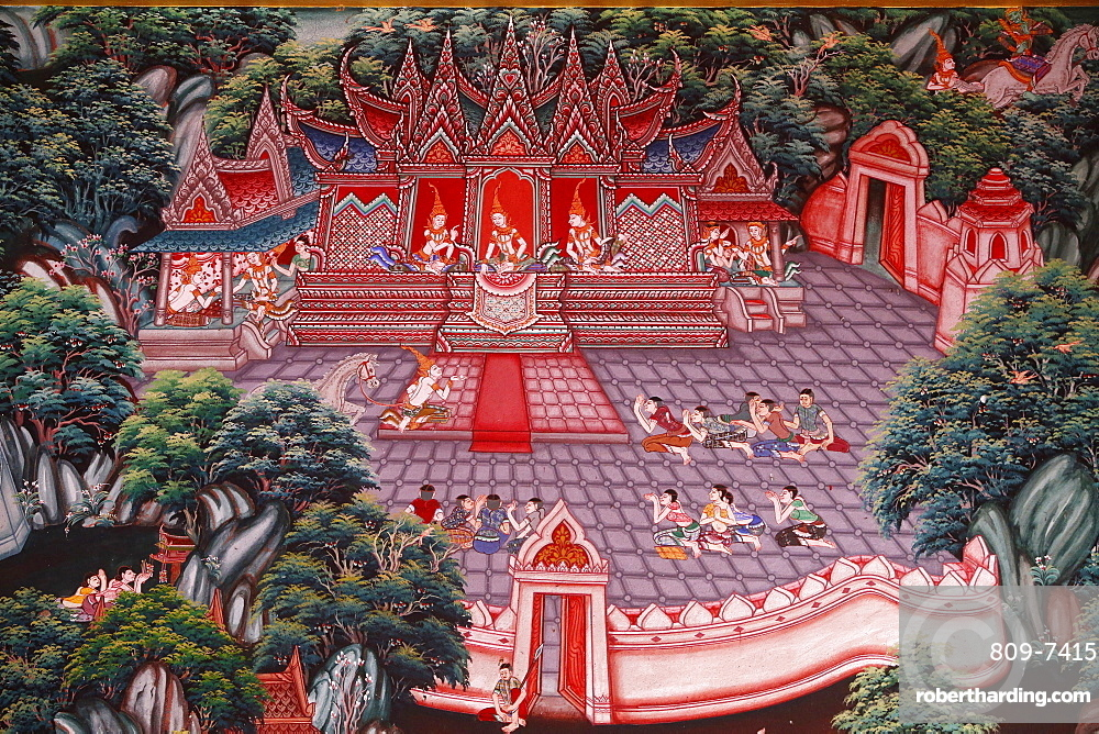 Narada Jataka, one of the Buddha's former lives depicted in fresco at Wat Ampharam, Hua Hin, Thailand, Southeast Asia, Asia