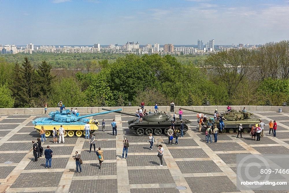 Military vehicles used in the Donbass War exhibited, Rodina Mat, Kiev, Ukraine, Europe
