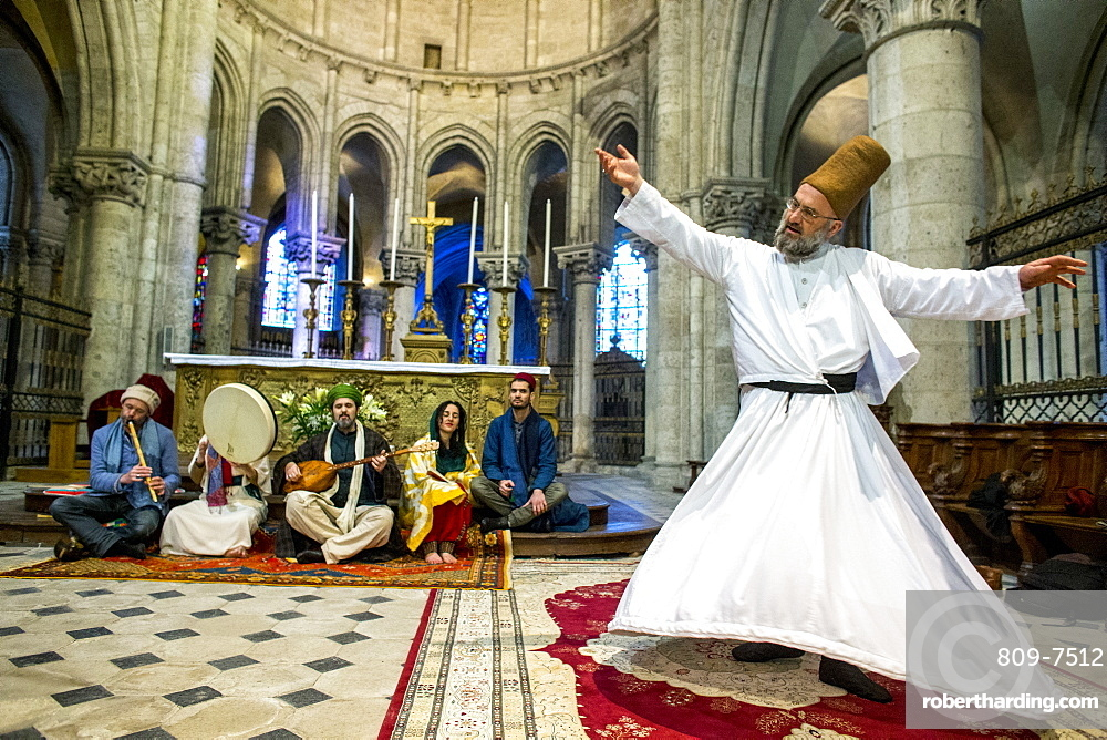 Sufi music band and Whirling Dervish at Sufi Muslim wedding in St. Nicolas's Catholic church, Blois, Loir-et-Cher, France, Europe