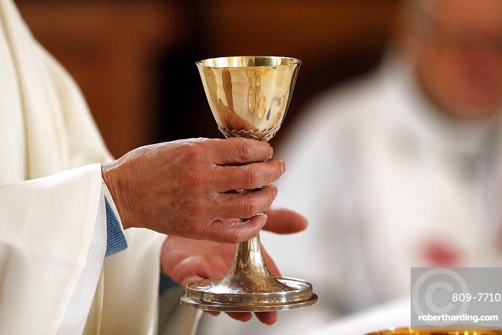Roman Catholic Mass, Eucharist celebration, Saint-Nicolas de Veroce Church, Haute-Savoie, France, Europe