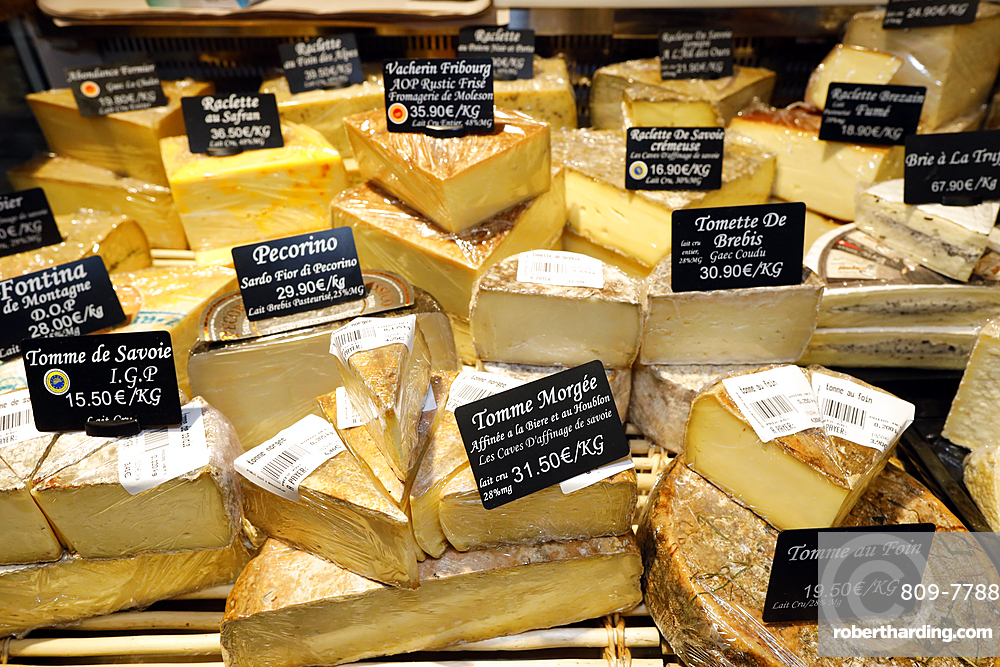 Gourmet shop, tasty French cheese assortment, Haute-Savoie, France, Europe