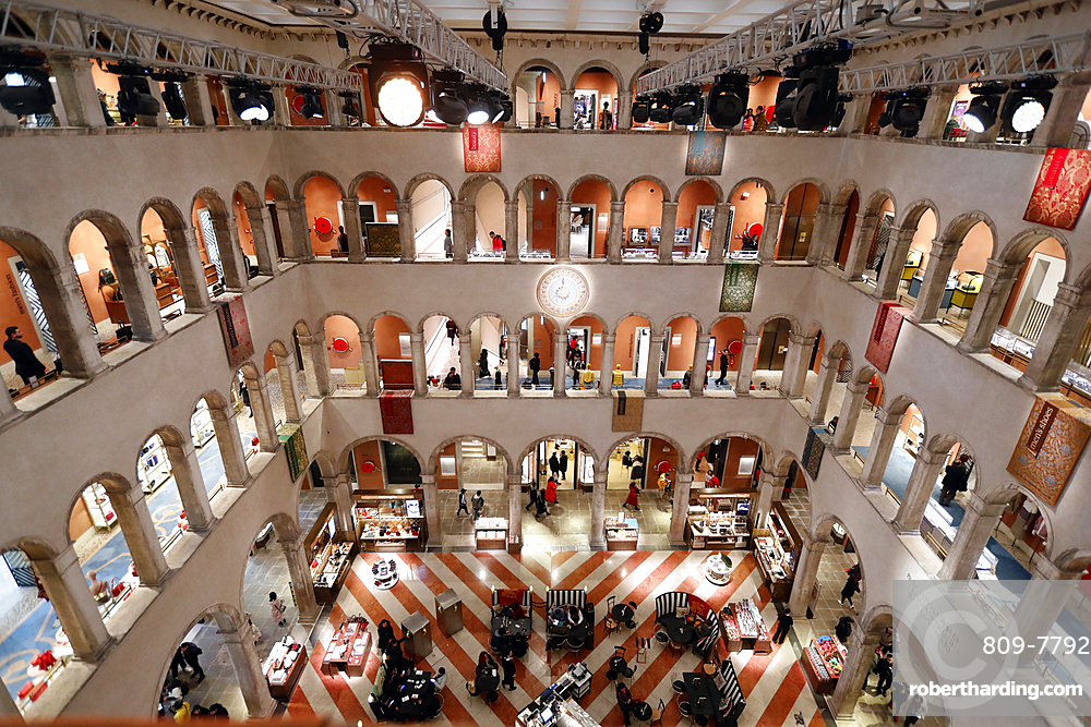 The luxury shopping center Fondaco dei Tedeschi, Venice, Veneto, Italy, Europe