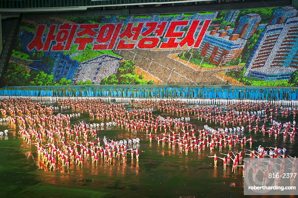 Dancers and Acrobats at the Airand festival, Mass games in Pyongyang, North Korea, Asia