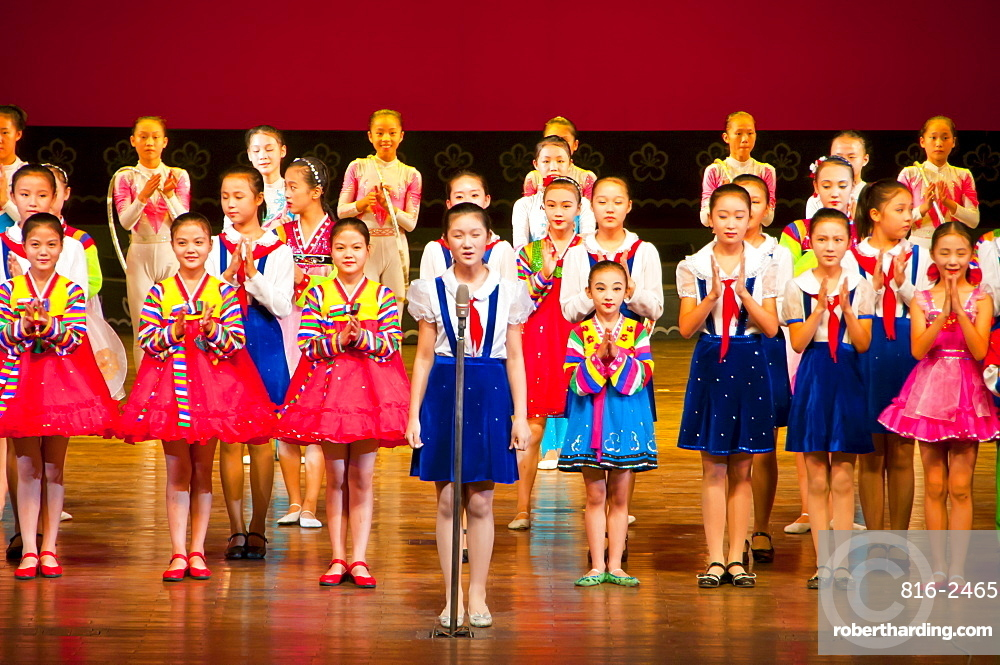 Young girls singing in the Schoolchildrens palace, Pyongyang, North Korea, Asia