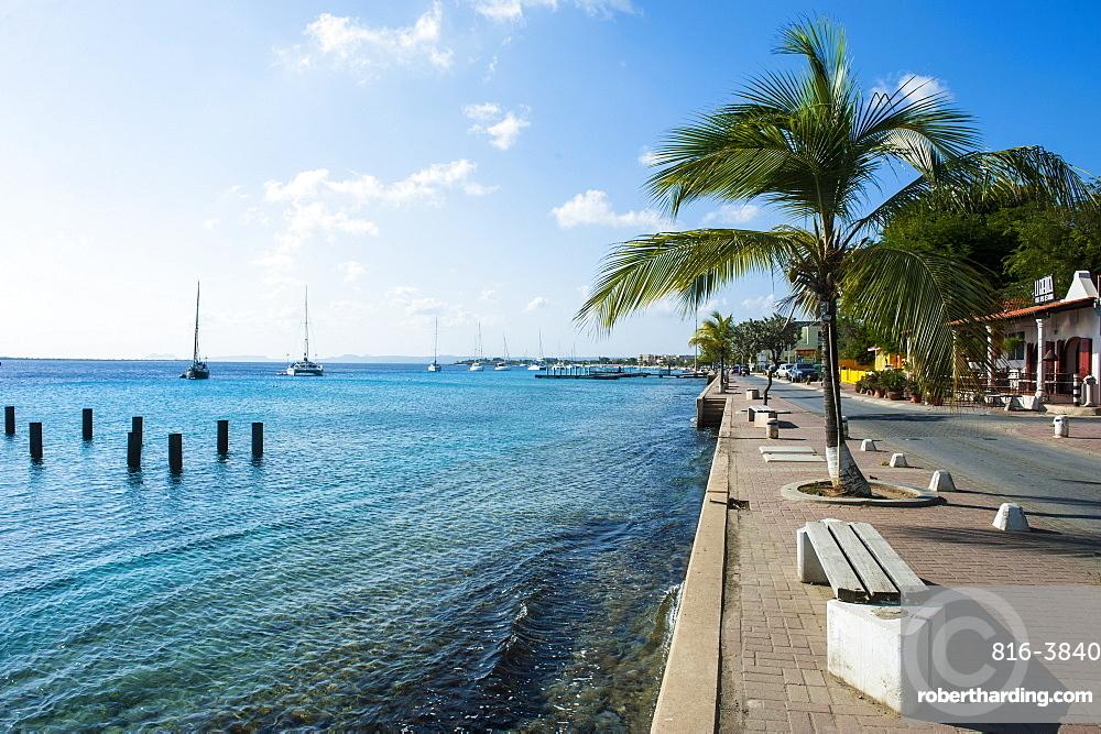 Pier in Kralendijk capital of Bonaire, ABC Islands, Netherlands Antilles, Caribbean, Central America