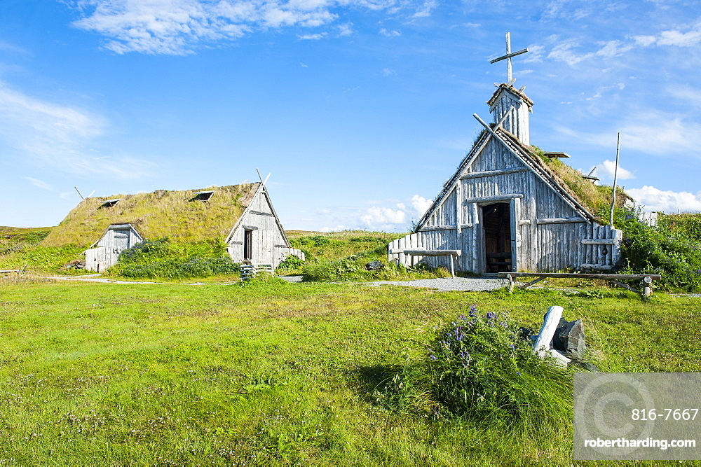 Traditional Viking buildings in the Norstead Viking Village and Port of Trade reconstruction of a Viking Age settlement, Newfoundland, Canada, North America