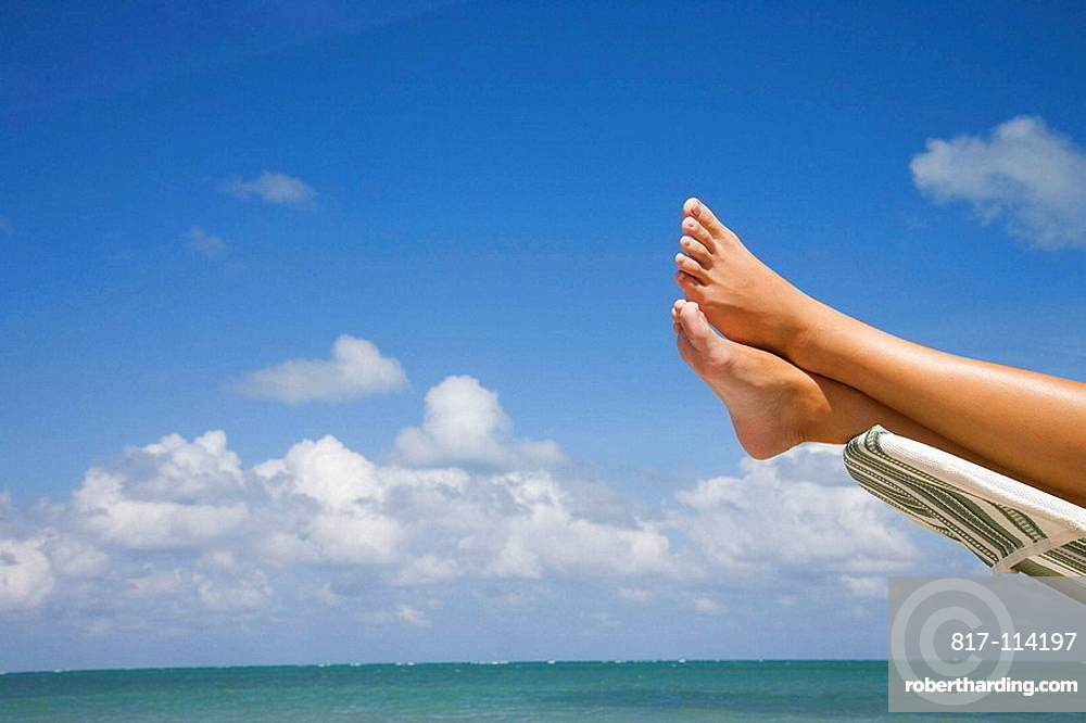 Usa, Florida, Miami, Key Biscayne, Woman on the beach of Crandon Beach