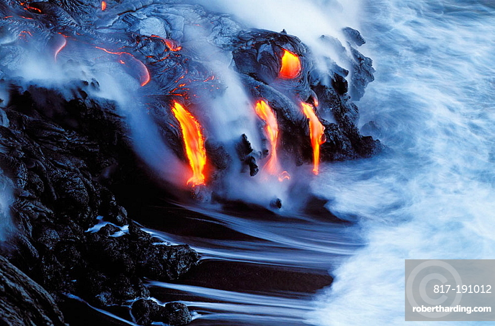 Melting magma entering the cold | Stock Photo