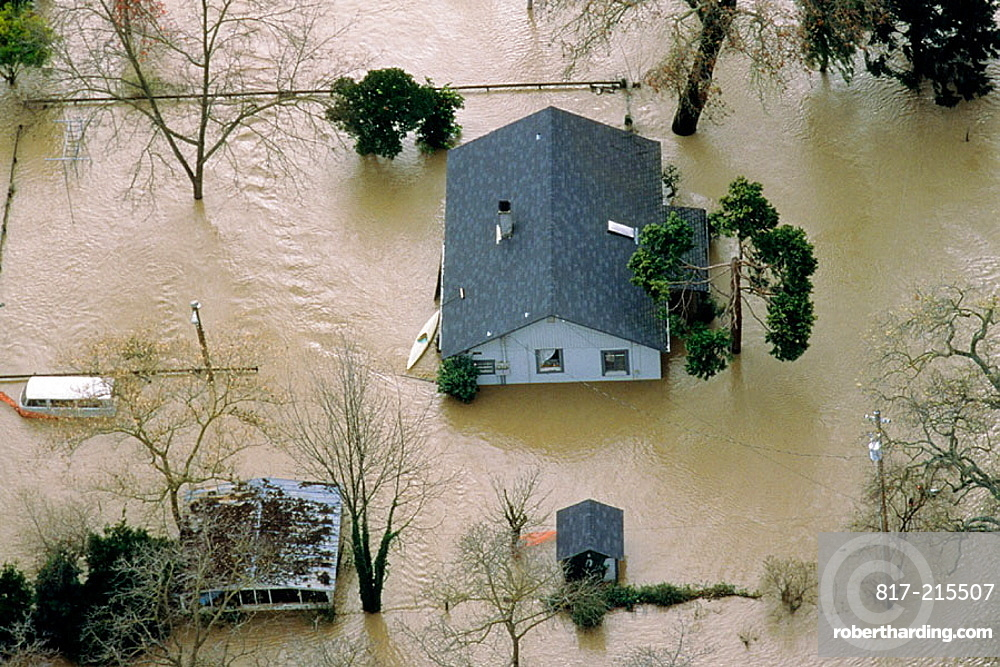 Flooded home, Tehama, California, USA