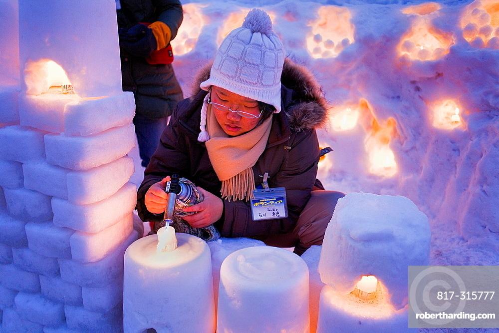 Preparing the Snow festival, Otaru Canal, Otaru Yuki-akari-no-michi, Otaru, Hokkaido, Japan
