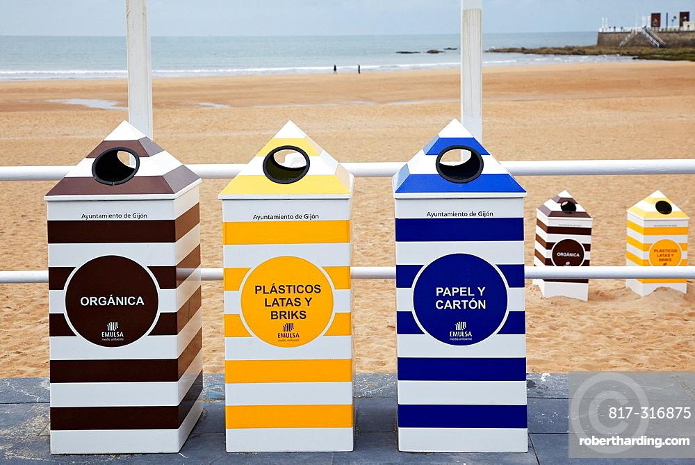 Reccycling bins, Playa San Lorenzo, Gijon, Asturias, Spain