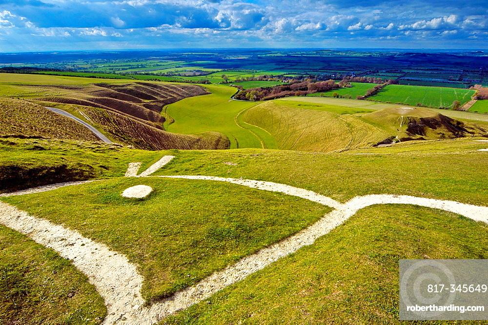 uffington white horse, the manger, uffington, berkshire, england, uk