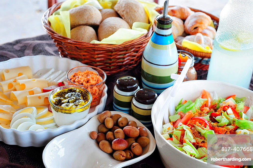 A healthy full mediterranean style breakfast served at a boutique hotel