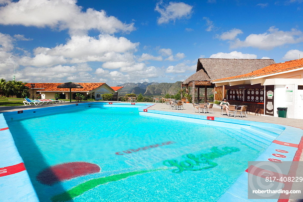 Cuba, Pinar del Rio Province, Vinales, Vinales Valley, Hotel La Ermita, swimming pool