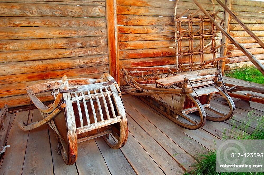 Wooden sledge Settlement Talzy, Irkutsk region, Baikal, Siberia, Russian Federation