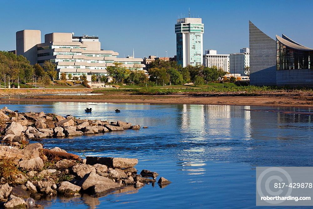USA, Kansas, Wichita, skyline by the Arkansas River