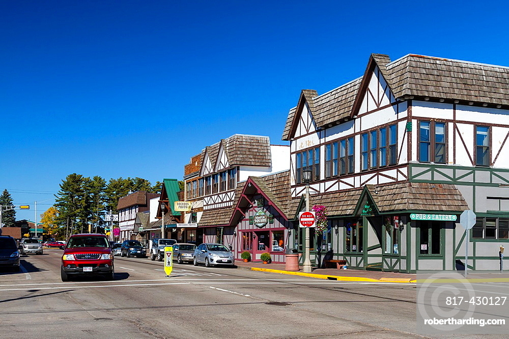 The main street of Minocqua, Wisconsin, USA