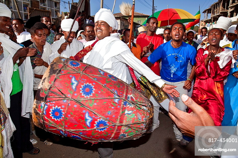 Ethiopian People Celebrating Timkat The Festival of Epiphany, Gondar, Ethiopia