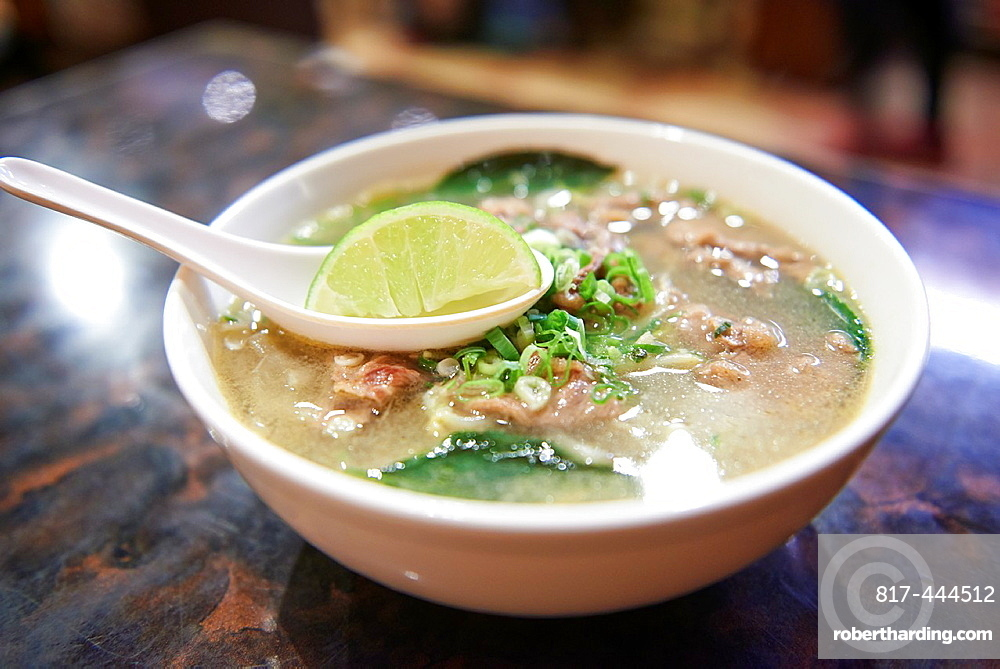 A bowl of clear broth beef pho Inside Thanh Ky, a vietnamese restaurant specializing in on Yongkang Street in Taipei.