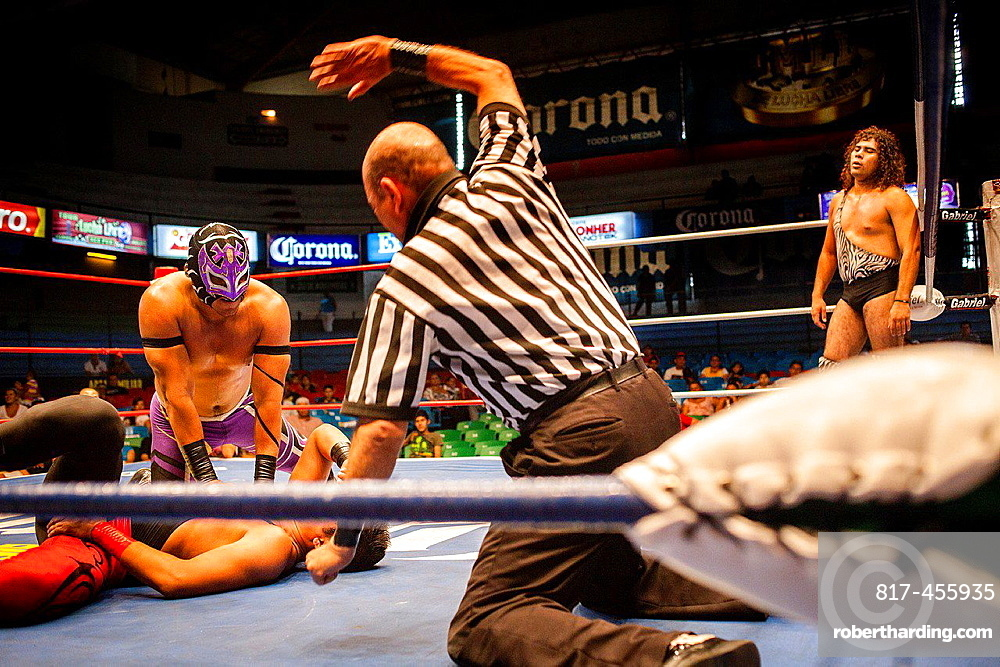 Wrestlers perform in a Lucha Libre event in Guadalajara Arena Coliseo,Guadalajara, Jalisco, Mexico.