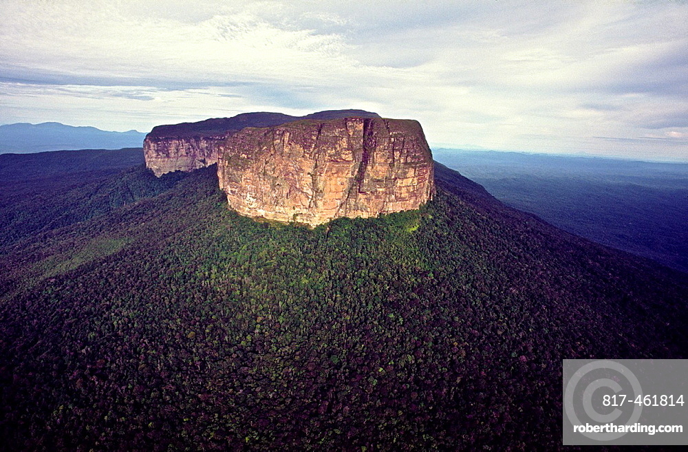 Aerial view of upper escarpment of Huachamakari-tepuy showing the raiforest covered talus slopes. Duida-Marawaka-Huachamakari National Park. Amazonas State, Southern Venezuela.