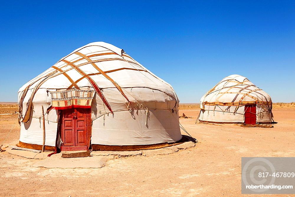 Yurts, Ayaz Kala Yurt Camp, Ayaz Kala, Khorezm, Uzbekistan.