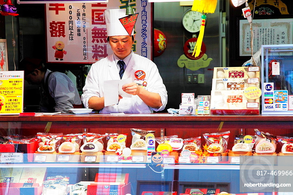 Japan, Yokohama, Chinatown, pastry shop, food counter,.