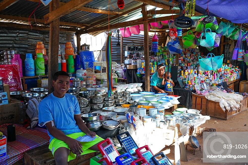 People at daily market at Belo sur Tsiribihina, Menabe region, Western Madagascar