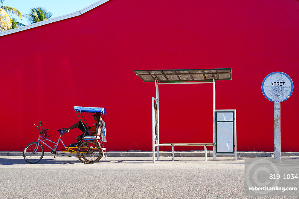 Taxi Brousse Bus stop and a cyclo-pousse in Morondava, Western Madagascar