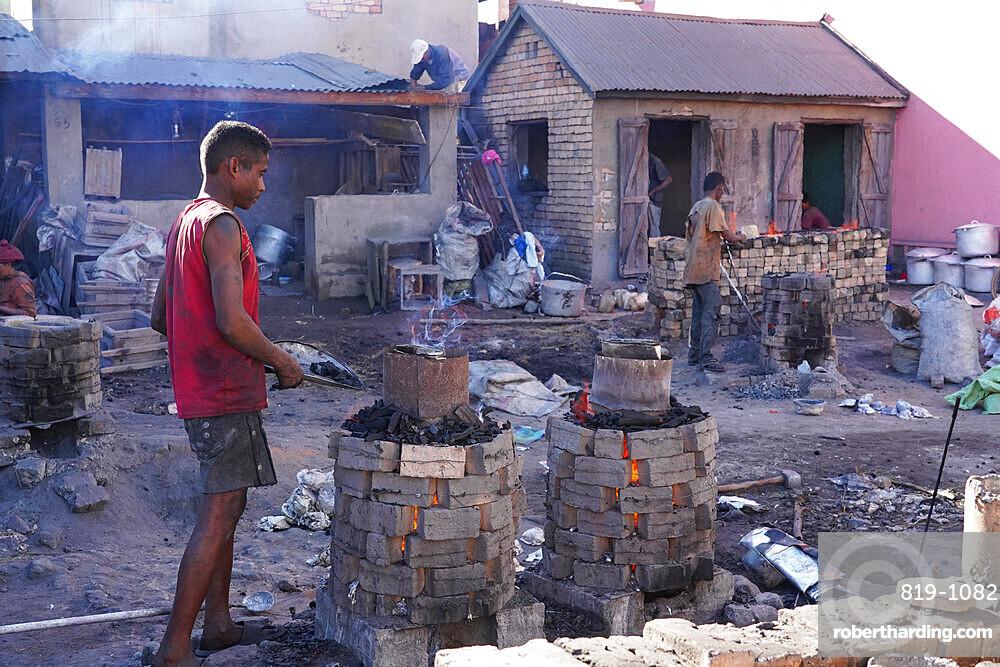 Aluminium foundry in Ambatolampy, Antsirabe, Central Madagascar