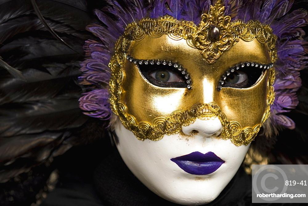 Mask at Venice Carnival, Venice, Veneto, Italy, Europe