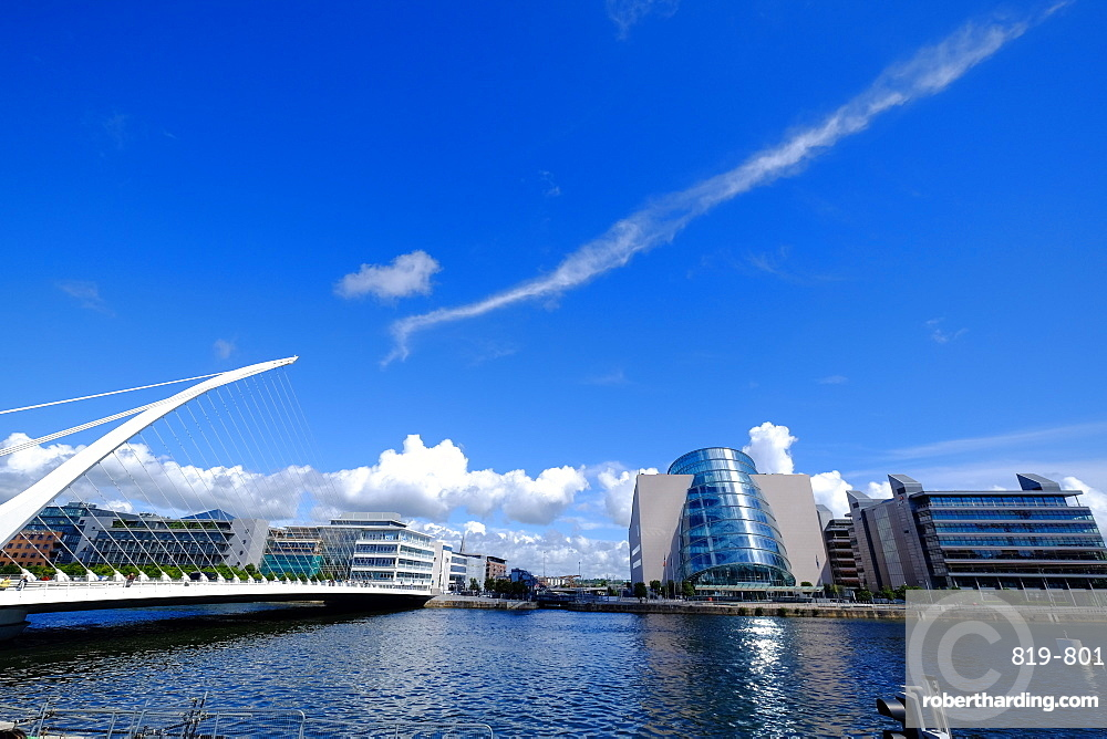 The Convention Centre Dublin and Samuel Beckett Bridge on Liffey River, Dublin, Republic of Ireland, Europe