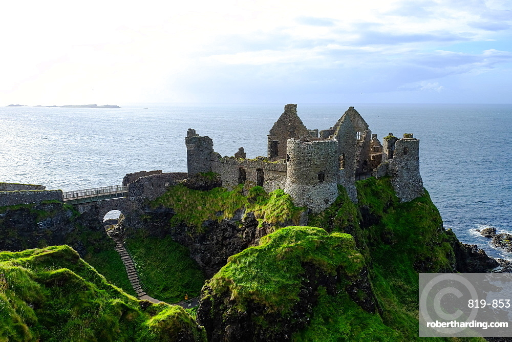 Dunluce Castle, located on the edge of a basalt outcropping in County Antrim, Northern Ireland